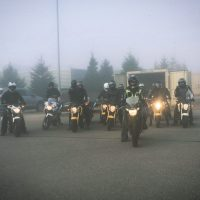 Instructors on a foggy day